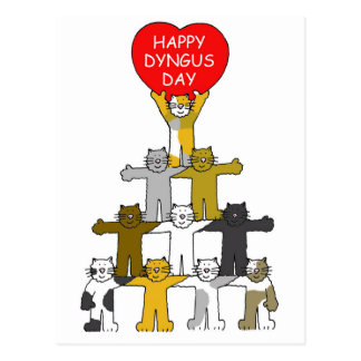 Happy Dyngus Day with romantic cats. Postcard