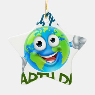 Happy Earth Day Cartoon Globe Mascot Design Christmas Ornament