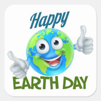 Happy Earth Day Cartoon Globe Mascot Design Square Sticker
