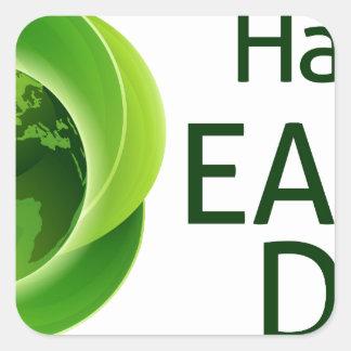 Happy Earth Day Green Leaves Globe Design Square Sticker
