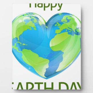 Happy Earth Day Heart Globe Design Photo Plaques