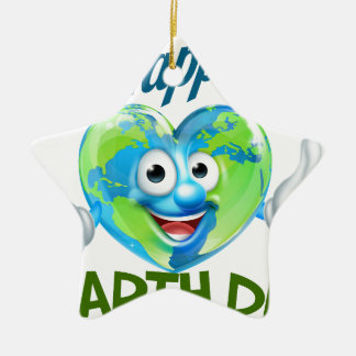 Happy Earth Day Heart Globe Mascot Design Christmas Ornament