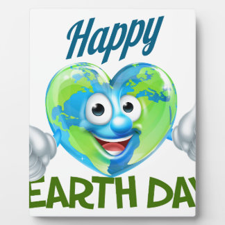 Happy Earth Day Heart Globe Mascot Design Photo Plaques