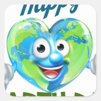 Happy Earth Day Heart Globe Mascot Design Square Sticker