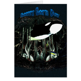 Happy Earth Day, Orca, Killer Whale Greeting Card