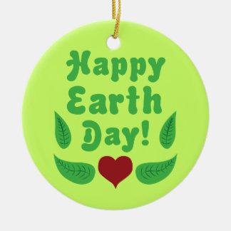Happy Earth Day Round Ceramic Decoration