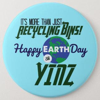 Happy Earth Day Yinz Mega Button Pin - Blue