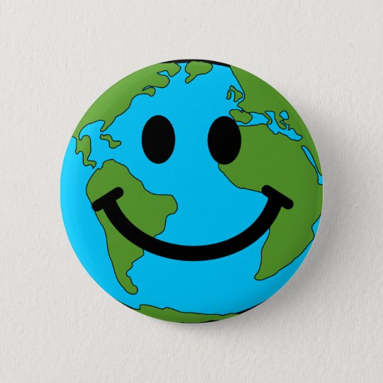 Happy Earth Smiley Face 6 Cm Round Badge