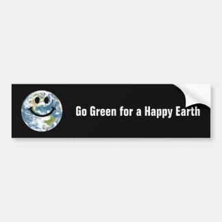 Happy Earth smiley face Bumper Sticker