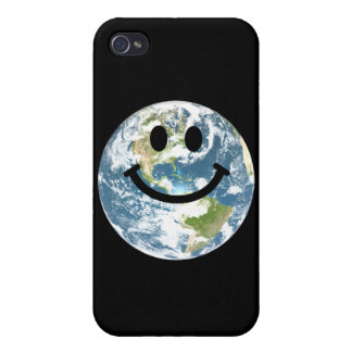 Happy Earth smiley face Cover For iPhone 4