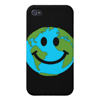 Happy Earth Smiley Face iPhone 4 Case