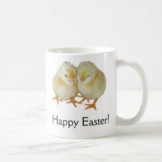 Happy Easter - 2 Cute Yellow Basque Chicks Basic White Mug