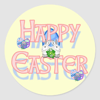 Happy Easter 3 Round Stickers