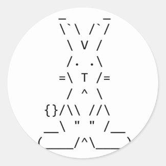 Happy Easter ASCII Bunny Art Round Sticker