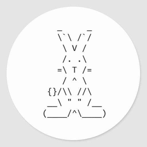 Happy Easter ASCII Bunny Art Sticker