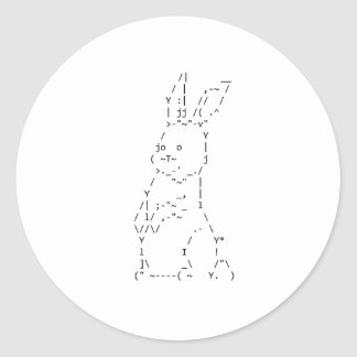 Happy Easter ASCII Bunny Art Stickers