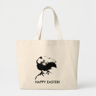 Happy Easter! (Baby Chick) Monotone print Canvas Bags