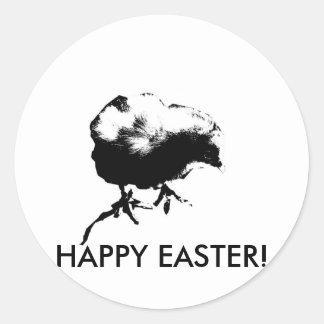 Happy Easter Baby Chick Monotone print Round Sticker