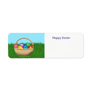 Happy Easter basket of colorful eggs Return Address Label