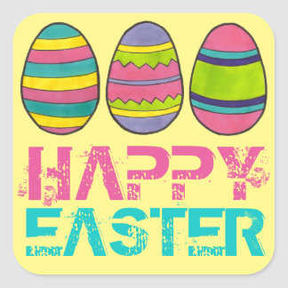 Happy Easter Basket Painted Egg Eggs Stickers