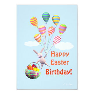 Happy Easter Birthday Bunny and Balloons Greeting Invitations