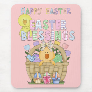 Happy Easter blessings bunnies eggs basket Mouse Pad