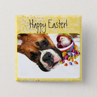 Happy Easter Boxer puppy and Chick button