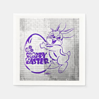 Happy Easter Brick Wall Paper Napkins