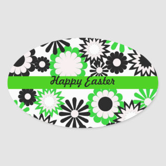 Happy Easter, bright green, white, & black flowers Stickers