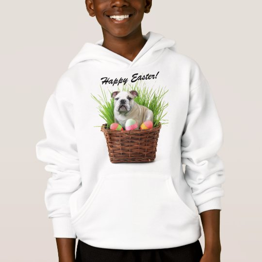 Happy Easter bulldog Kids Hooded Sweatshirt