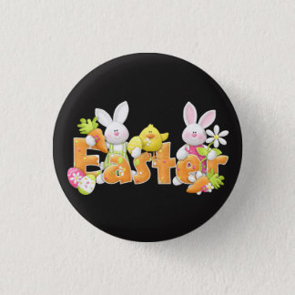 Happy Easter bunnies and chick background 3 Cm Round Badge