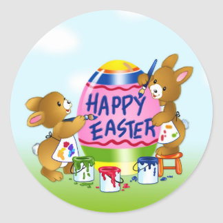 Happy Easter Bunnies decorating eggs Classic Round Sticker