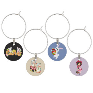 Happy Easter Bunnies decorating eggs Wine Charm