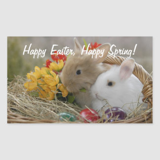 Happy Easter Bunnies Rectangular Sticker