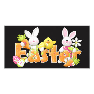 Happy Easter Bunnies with chick background Picture Card
