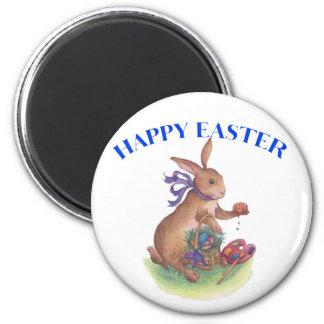 Happy easter bunny 6 cm round magnet