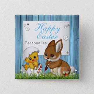 Happy Easter Bunny and Baby Chick 15 Cm Square Badge
