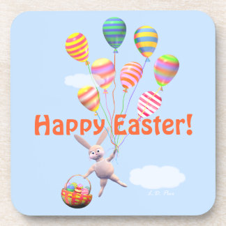 Happy Easter Bunny and Balloons Coaster
