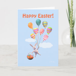 Happy Easter Bunny and Balloons Holiday Card