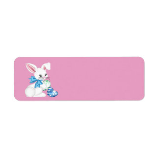 Happy Easter Bunny and Colored Egg Return Address Label