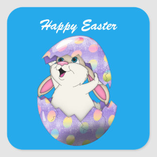Happy Easter Bunny and Colored Egg Square Sticker