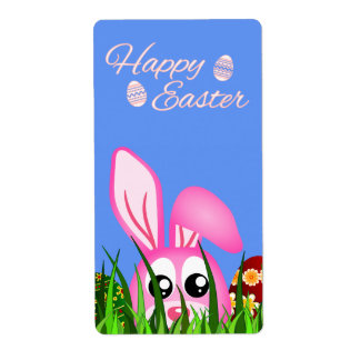Happy Easter Bunny and Eggs in Grass Large Labels