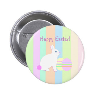 Happy Easter Bunny and Eggs on Stripes 6 Cm Round Badge