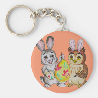Happy Easter Bunny and Owl painting egg Key Ring