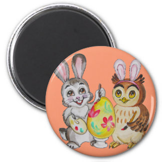 Happy Easter Bunny and Owl painting egg Magnet