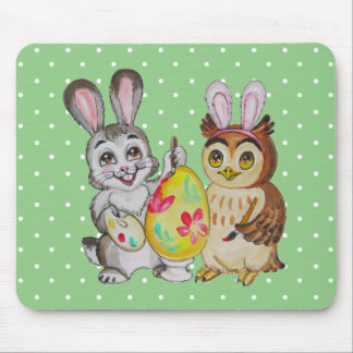 Happy Easter Bunny and Owl painting egg Mouse Mat