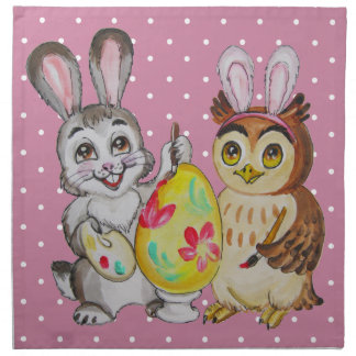 Happy Easter Bunny and Owl painting egg Napkin