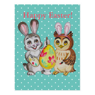 Happy Easter Bunny and Owl painting egg Postcard