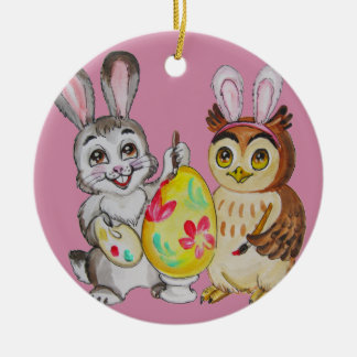Happy Easter Bunny and Owl painting egg Round Ceramic Decoration