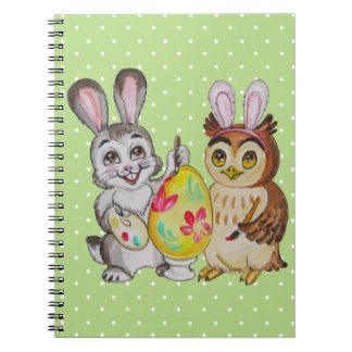 Happy Easter Bunny and Owl painting egg Spiral Notebook